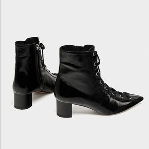 ZARA lace up leather high heel boots. New!